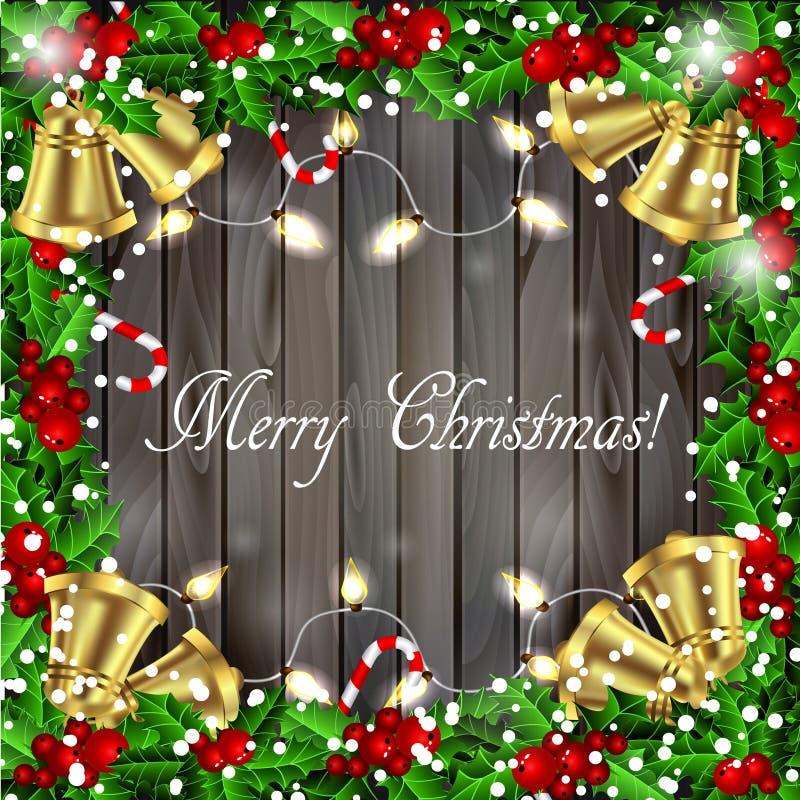 Holly Christmas-Rahmen stock abbildung
