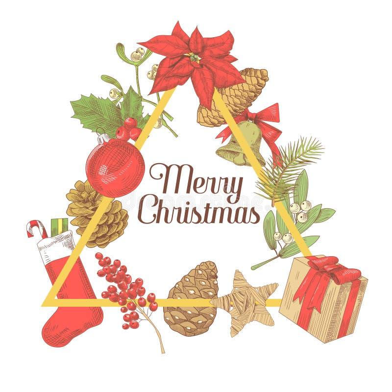 Holly Christmas Vintage Greeting Card Decoración dibujada mano del Año Nuevo libre illustration