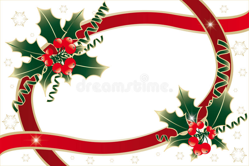 Holly decoration on white. Christmas decoration with holly, green and red ribbons, golden snowflakes and vibrant stars, on white - illustration royalty free illustration
