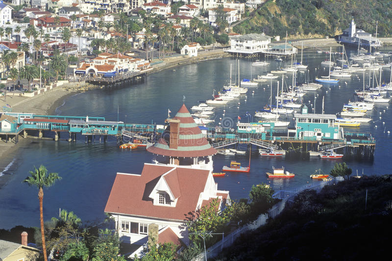 Holly Hill House et Avalon Harbor, Avalon, Catalina Island, la Californie images stock