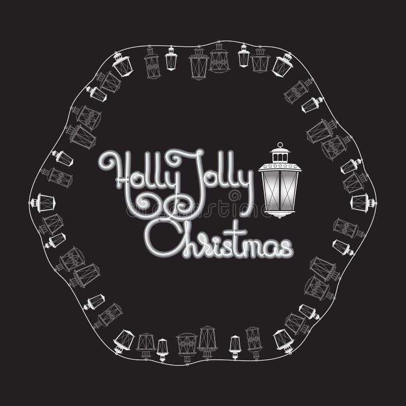 Holly Jolly Christmas card. Lanterns and handwritten words. Holly Jolly Christmas greeting card. Black and white lanterns and handwritten words on a black vector illustration