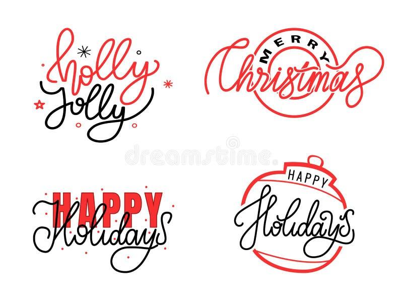 Holly Jolly, Feliz Natal, boas festas texto ilustração royalty free
