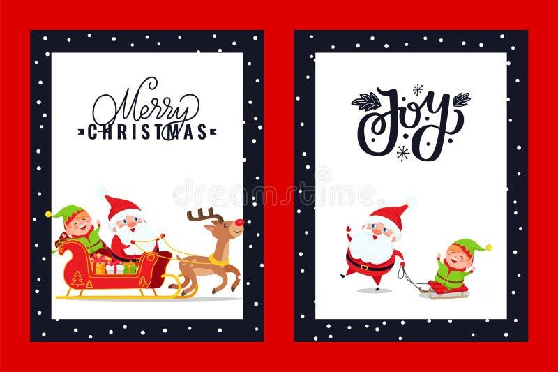 Holly Jolly Greeting Card con Papá Noel, ciervo, duende ilustración del vector