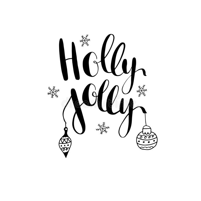 Free Holly Jolly Greeting Card With Hand Written Calligraphic Christmas Wishes Phrase Stock Photos - 78066943