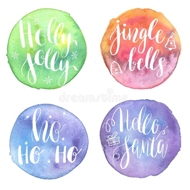 Holly Jolly HoHoHo, Hello santa, klirrklockor på den målade vattenfärgen cirklar bakgrunder Feriebaner, klistermärke eller affisc royaltyfri illustrationer