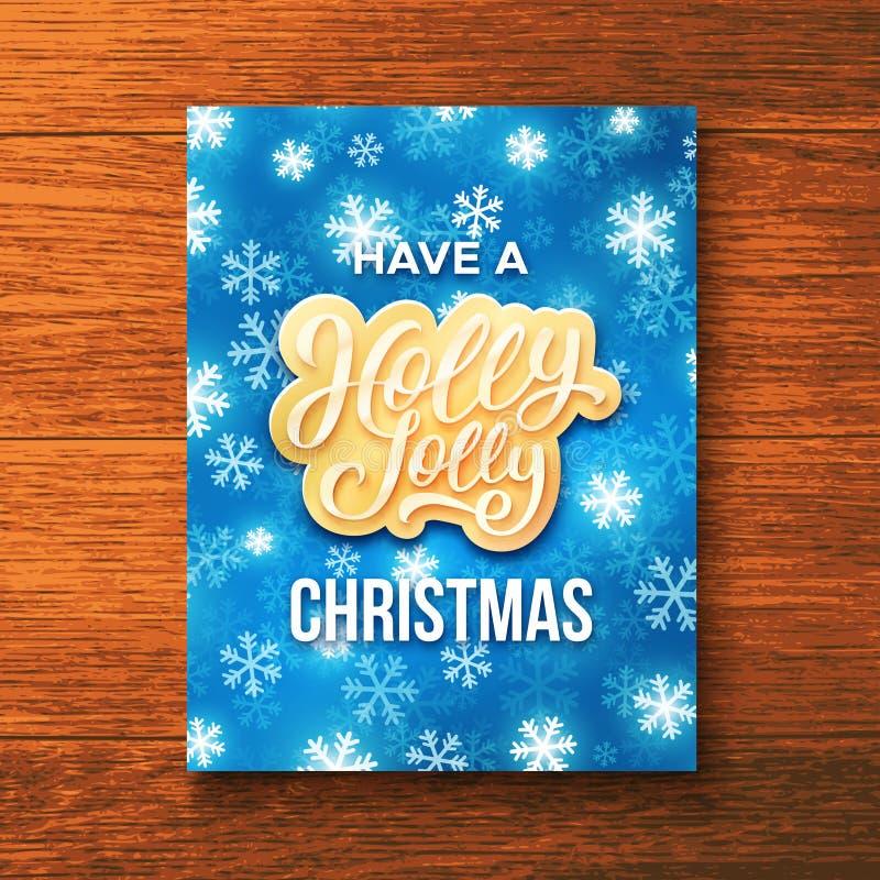 Holly Jolly Merry Christmas-Grußkarte lizenzfreie abbildung