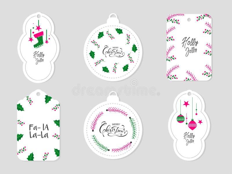 Holly Jolly Merry Christmas Sticker, label ou Tag imagem de stock royalty free