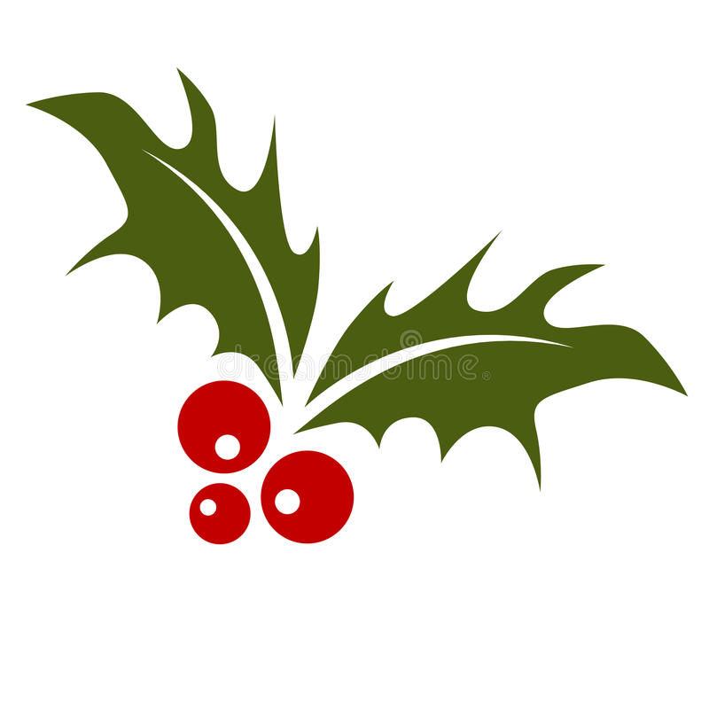 Holly Leaf with Berries. An image of a holly leaf with red berries