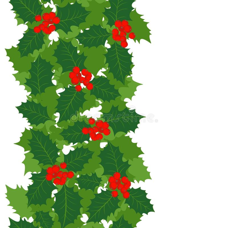 Holly Leaves And Berries Vertical Border Stock Vector