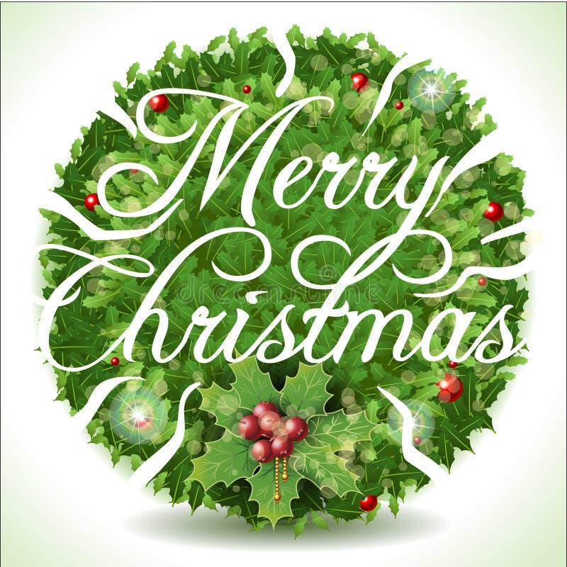 Holly Leaves Circle e texto caligráfico do Feliz Natal ilustração royalty free