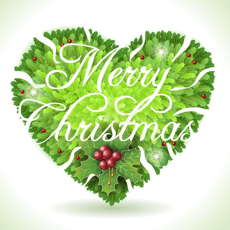 Holly Leaves Heart en Vrolijke Kerstmis Kalligrafische Tekst vector illustratie