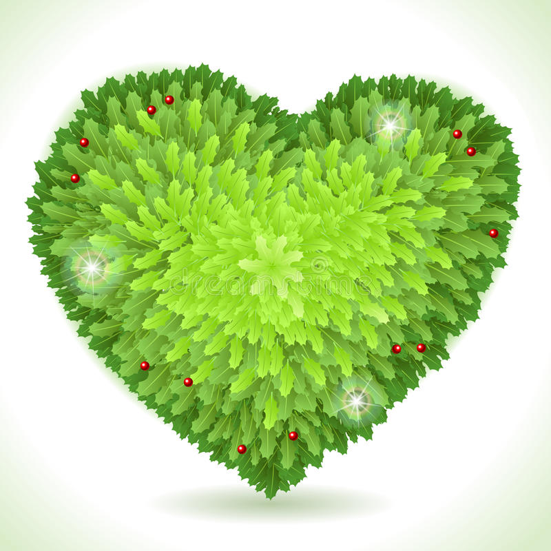 Holly Leaves Heart Placeholder Isolated sur le blanc illustration stock