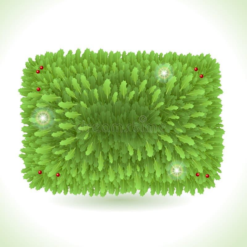 Holly Leaves Rectangle Placeholder sur le blanc illustration de vecteur