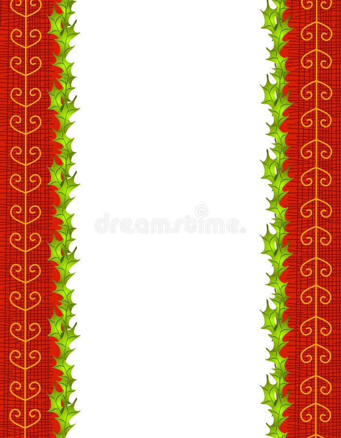 Holly Leaves and Red Gold Ribbon Border royalty free illustration