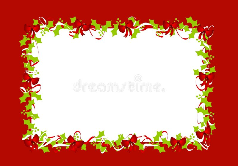 Holly Leaves Red Ribbons Border Frame. A background illustration featuring a frame or border of holly leaves and red ribbons set against red stock illustration