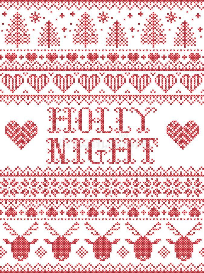 Free Holly Night Christmas Pattern With Scandinavian Nordic Festive Winter Pattern In Cross Stitch With Heart, Snowflake, Trees Stock Images - 160735464