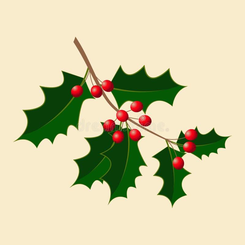 holly również zwrócić corel ilustracji wektora Gałąź z jagodami boże narodzenie nowy rok Tradycyjny symbol royalty ilustracja