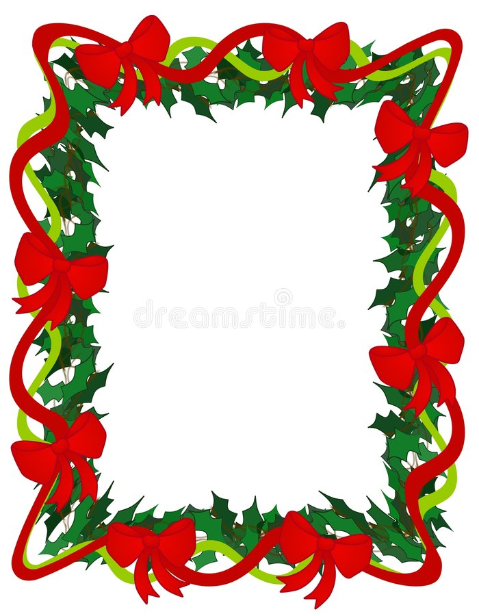 Holly Ribbons and Bows Frame stock illustration