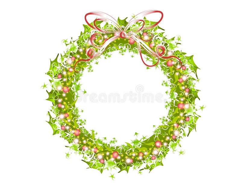 Download Holly Ribbons And Lights Wreath Stock Illustration - Illustration: 3751852