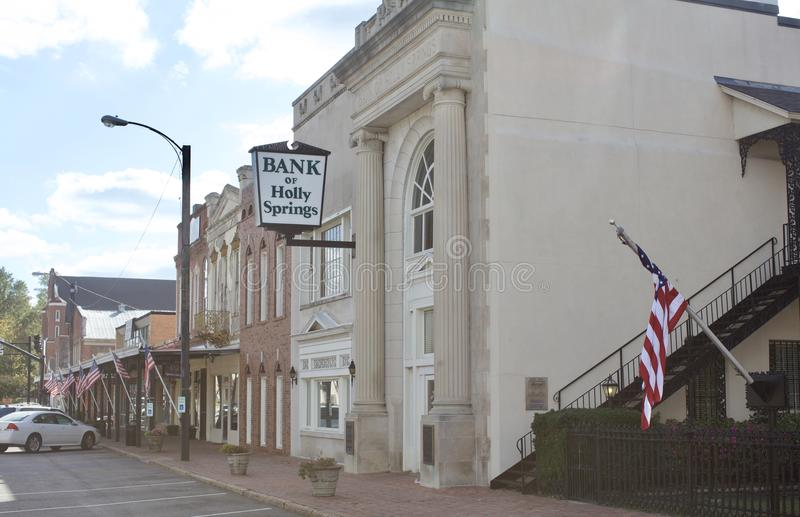 Holly Springs Mississippi Town Bank image stock