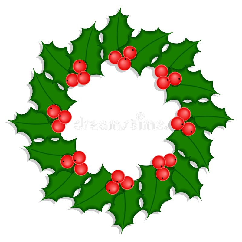 Holly wreath #1 royalty free stock images