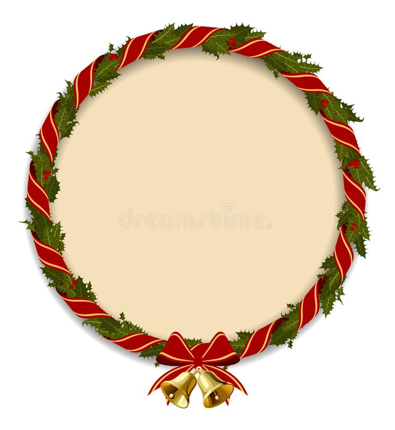 Holly wreath round frame with gold bells isolated on white stock illustration