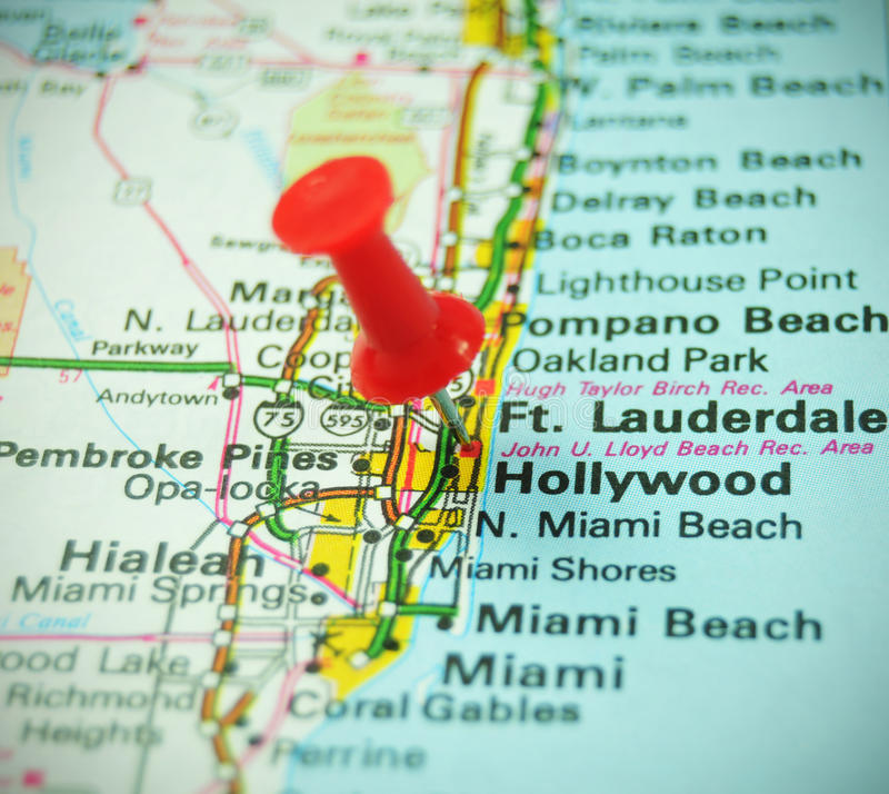 Hollywood. Famous destination on map stock images