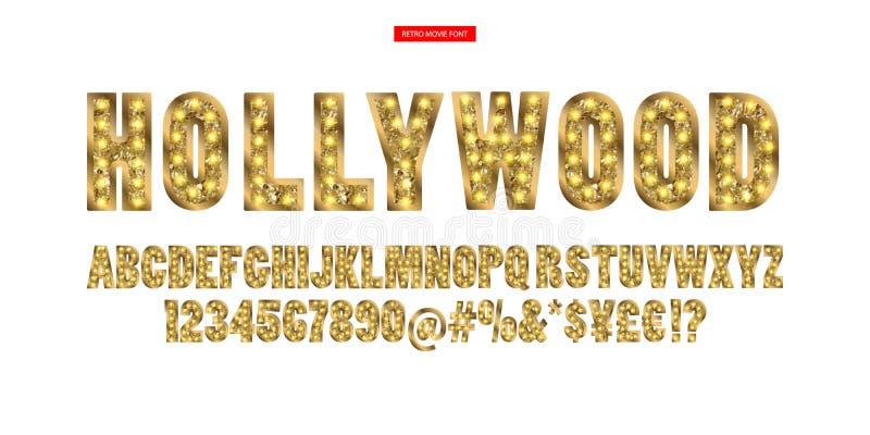 Hollywood Alfabeto De Oro Del Color Con Las Lámparas De La ...