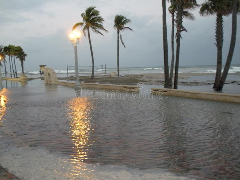 Hollywood Beach Flooded royalty free stock photo