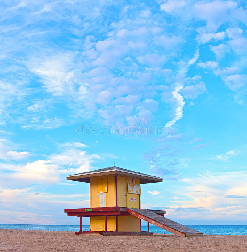Hollywood Beach Florida, USA. Colorful lifeguard house at sunset with beautiful sumer sky and ocean in the background royalty free stock images