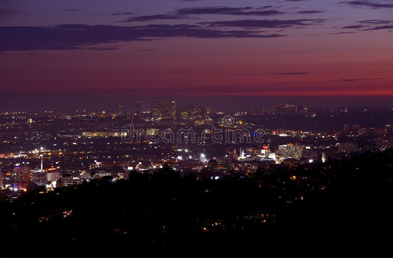 Hollywood and Beverly Hills. Hollywood, West Hollywood, Beverly Hills and Santa Monica in Background. Late Sunset Panorama. California Photography Collection royalty free stock photography
