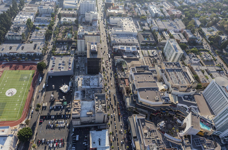 Hollywood Blvd εναέριο Λος Άντζελες στοκ εικόνες με δικαίωμα ελεύθερης χρήσης