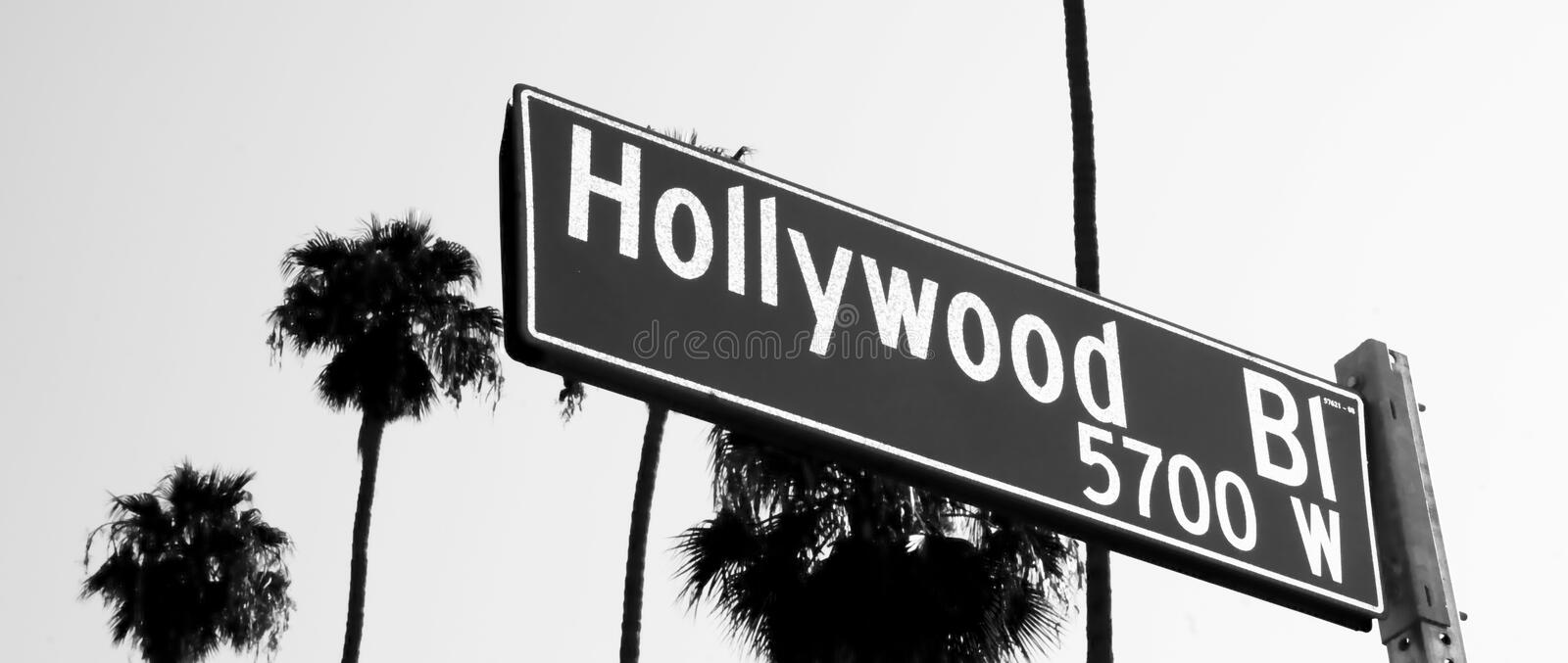Hollywood Blvd Street Sign Cityscape California royalty free stock photos