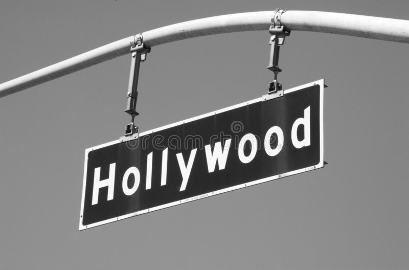 Hollywood Blvd Street Sign 2 BW stock image