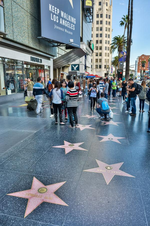 Hollywood boulevard i Los Angeles, CA arkivbild