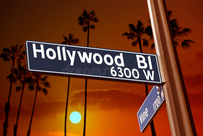 Hollywood boulevard med vinrankateckenillustrationen på palmträd royaltyfria bilder