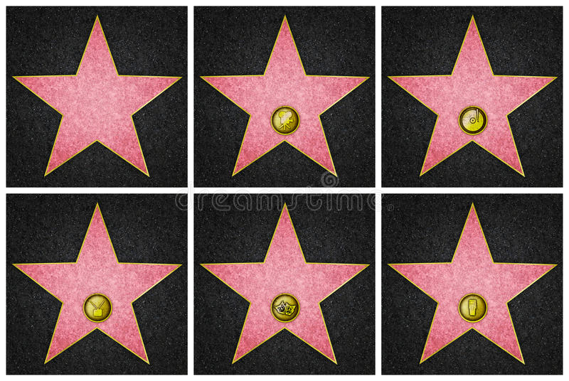 Hollywood Boulevard Stars. Blank Hollywood marble stars, from Hollywood Boulevard