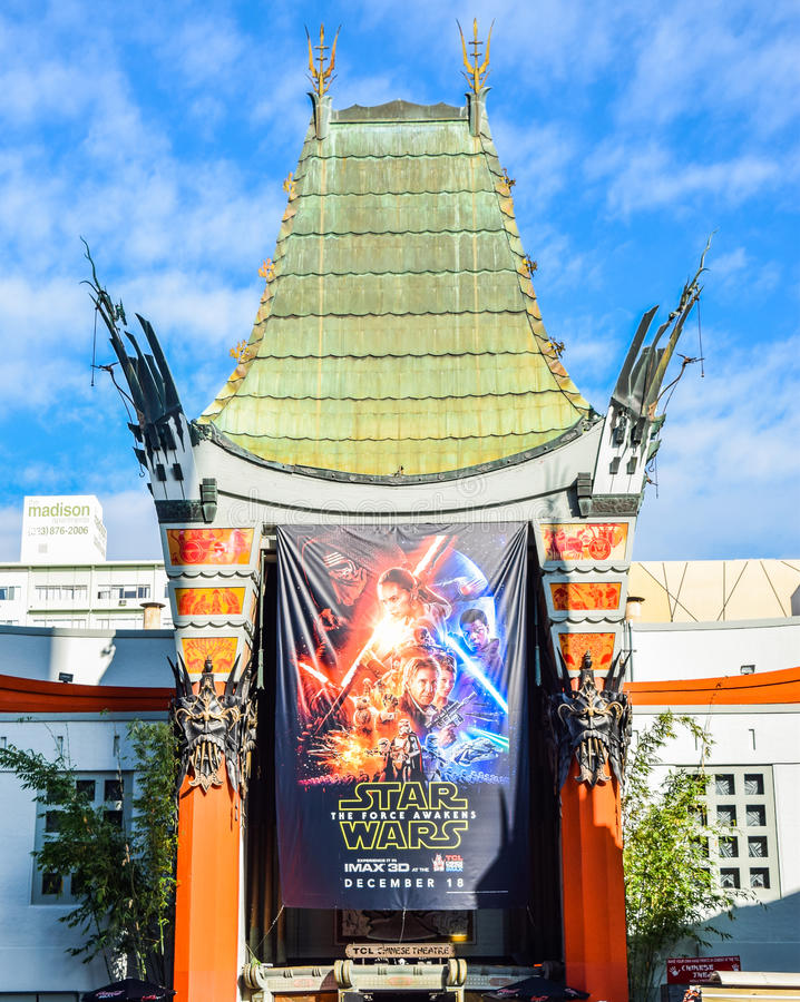 Hollywood boulevard View Grauman's Chinese Theater on Hollywood Boulevard. Los Angeles, CA, USA . January 16, 2016: hollywood boulevard View Grauman's Chinese royalty free stock image