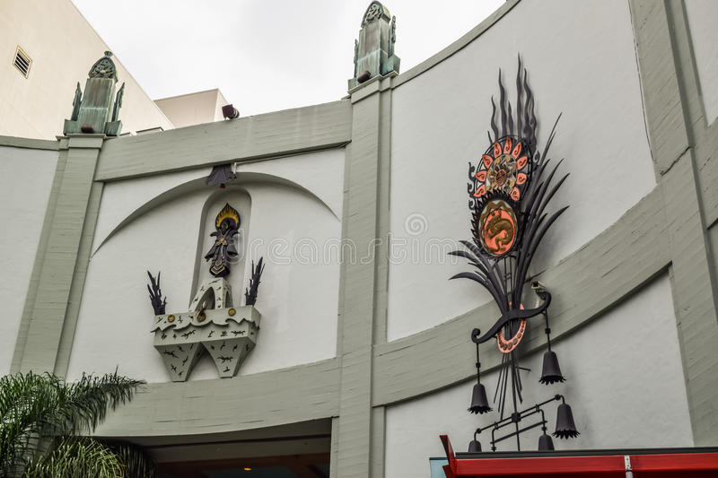 Hollywood boulevard View Grauman's Chinese Theater on Hollywood Boulevard. Los Angeles, CA, USA . January 16, 2016: hollywood boulevard View Grauman's Chinese royalty free stock photo