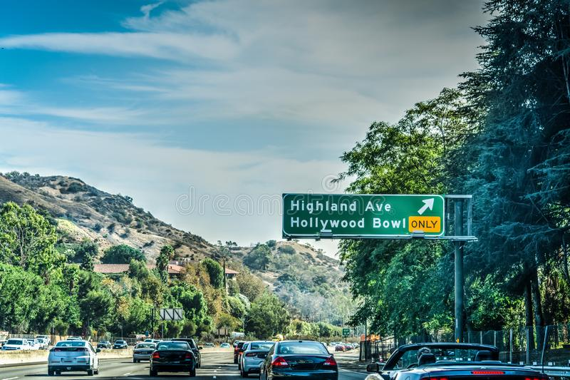 Hollywood Bowl exit sign in Pacific Coast Highway southbound. Southern Calfornia, USA royalty free stock image