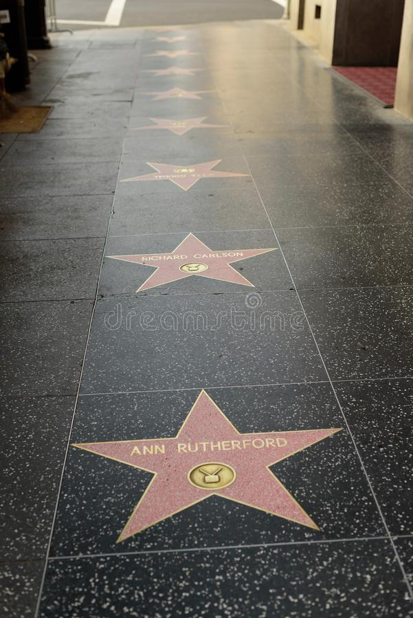 Ann Rutherford star on the Hollywood Walk of Fame stock images
