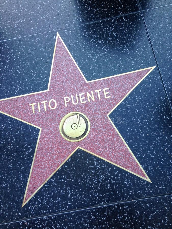 Tito Puente Hollywood walk of fame star. Hollywood, California - July 26 2017: Tito Puente Hollywood walk of fame star on July 26, 2017 in Hollywood, CA royalty free stock photos
