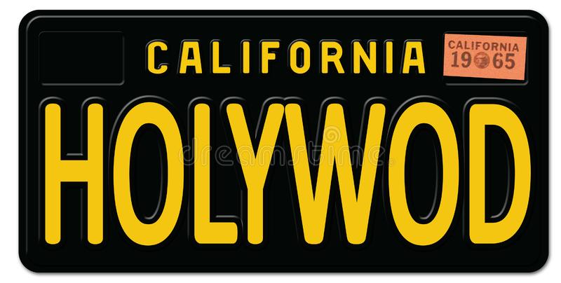Hollywood California License Plate Retro Vintage. Movies art logo sign metal car freeway oscars royalty free illustration