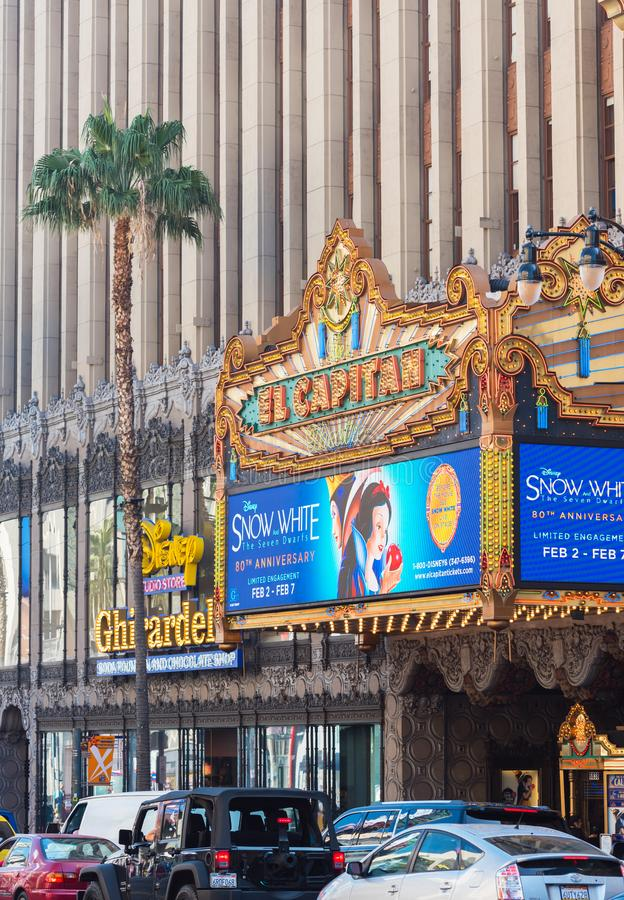 HOLLYWOOD, CALIFORNIA, USA - FEBRUARY 6, 2018: The building of the film palace El Capitan on the city street. Vertical.  royalty free stock image