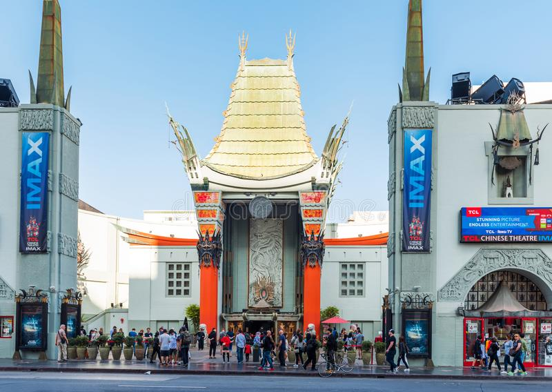 HOLLYWOOD, CALIFORNIA, USA - FEBRUARY 6, 2018: View of the facade of the building of the Chinese theater Grauman.  royalty free stock image