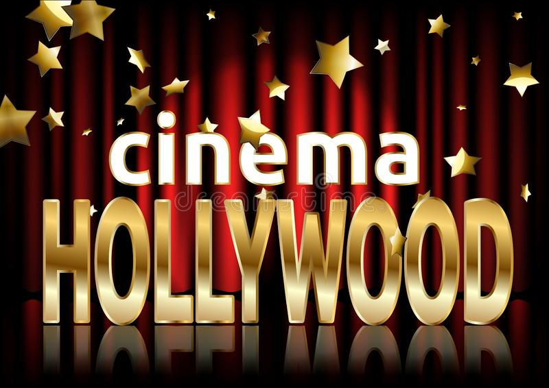 Hollywood cinema. Movie banner or poster in retro style. vector illustration