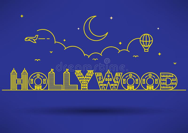 Hollywood City Typography Design with Building Letters royalty free illustration