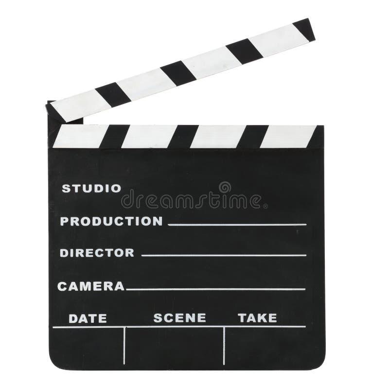 Hollywood clássico risca o clapperboard aberto isolado em um fundo branco com trajeto de grampeamento fotos de stock