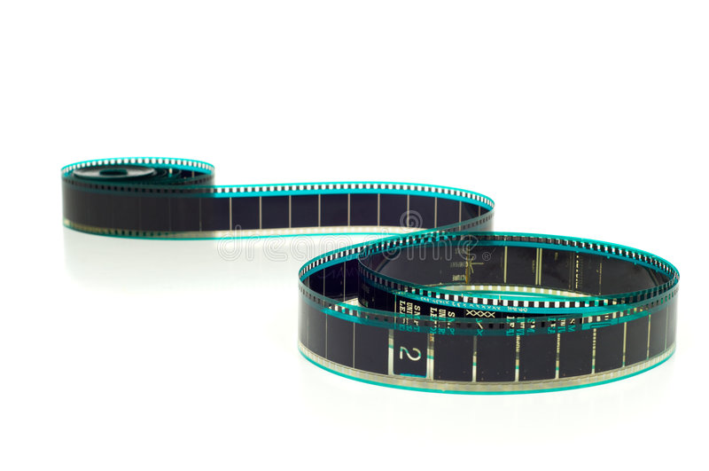Hollywood Film. Hollywood 35mm film strip on white background stock photo