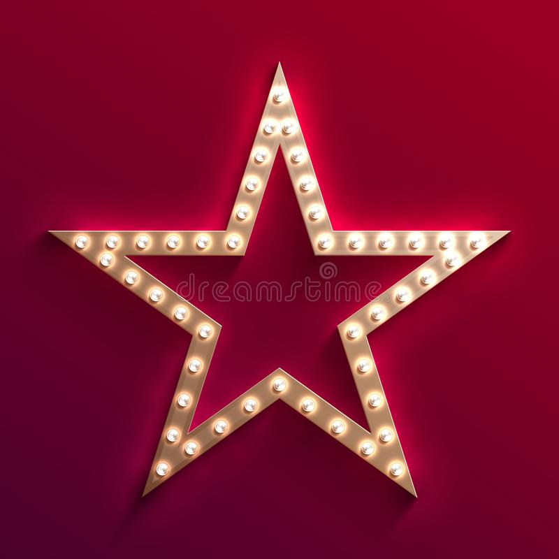 Hollywood film star with light bulb marquee. Retro gold movie frame. Casino light vector sign royalty free illustration